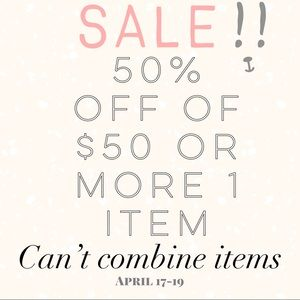 %50 off sale on any item $50 or more